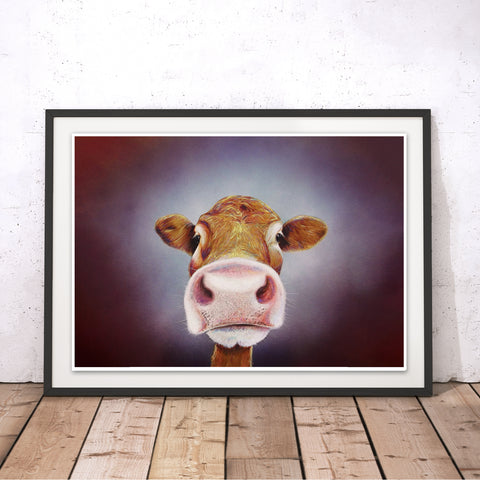 Nosey Cow Original Print by Adam Barsby