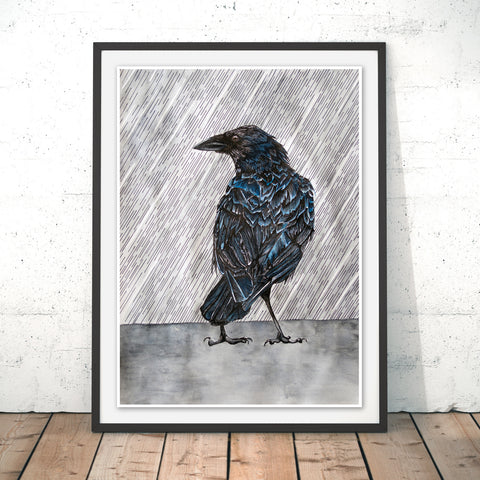 Raincrow Original Print by Alice Rope