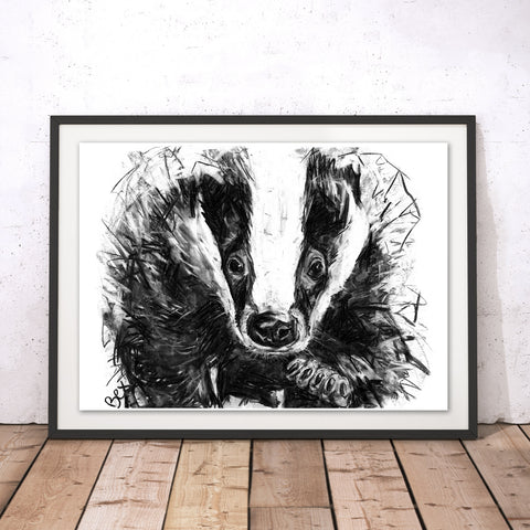 Badger Original Print by Bex Williams