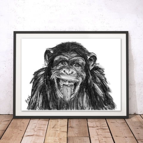 Chimp Original Print by Bex Williams