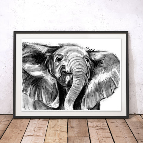 Elephant Original Print by Bex Williams