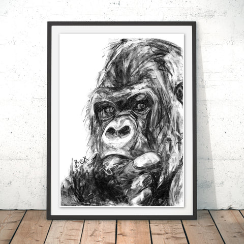 Gorilla Original Print by Bex Williams