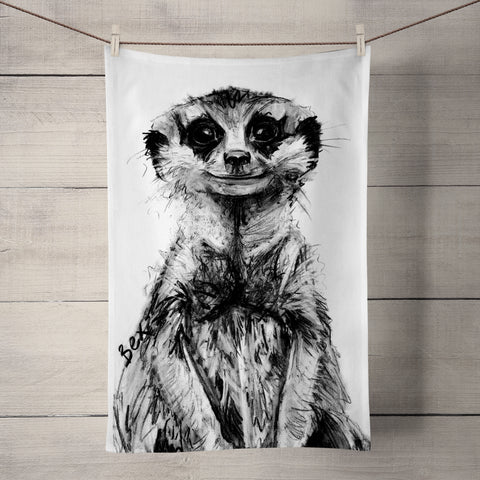 Meerkat Tea Towel by Bex Williams