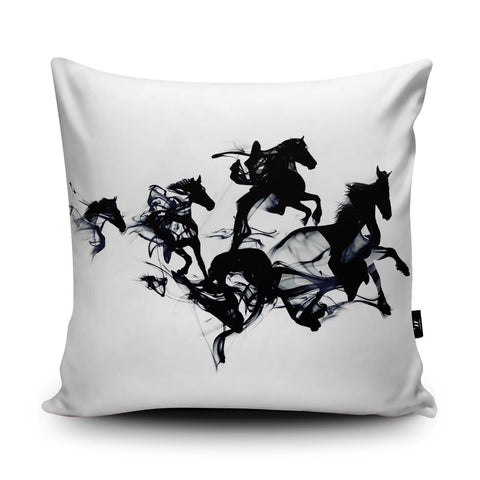 Black Horses Cushion by Robert Farkas