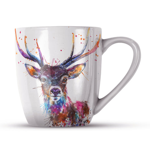 Splatter Rainbow Stag Bone China Mug by Katherine Williams