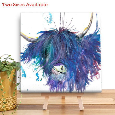 Splatter Highland Cow Wooden Canvas by Katherine Williams