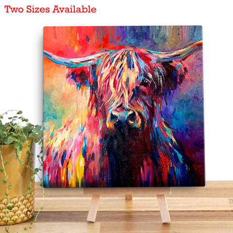 Highland Cow Wooden Canvas by Sue Gardner