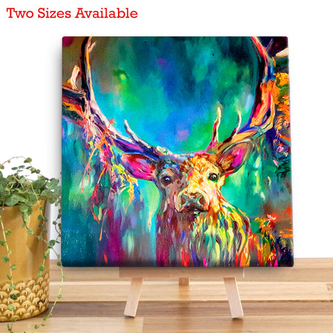 Woodland Stag Wooden Canvas by Sue Gardner