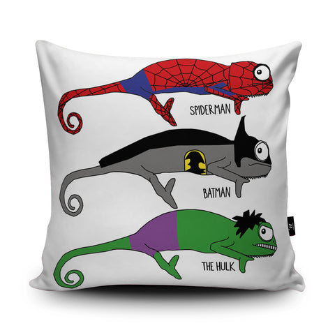 Chameleon Superheroes Cushion by Jasmine Hutchison