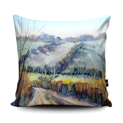 Frosty Lane Cushion by Clare Buchta Cushion by Clare Buchta