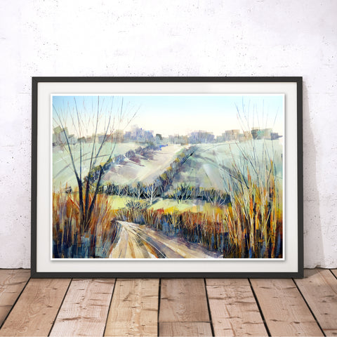 Frosty Lane Original Print by Clare Buchta