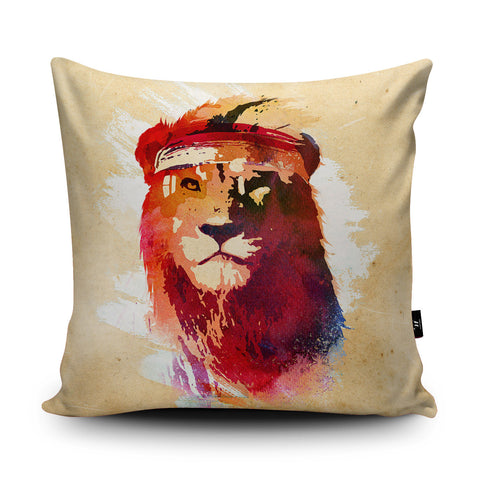 Gym Lion Cushion by Robert Farkas