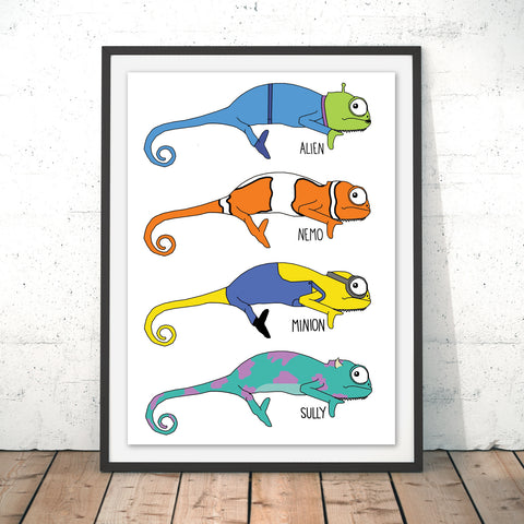Chameleon Animations Original Print by Jasmine Hutchison