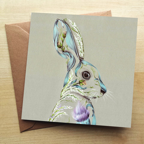 Rustic Hare Greetings Card by Kat Baxter