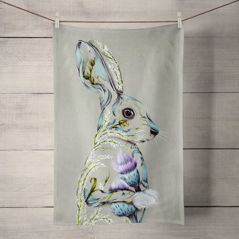 Rustic Hare Tea Towel by Kat Baxter