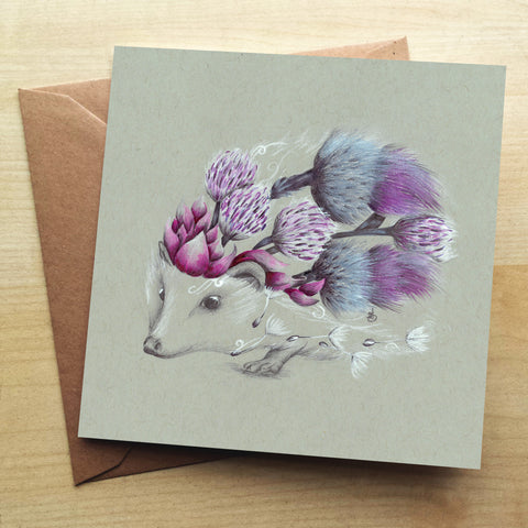 Rustic Hedgehog Greetings Card by Kat Baxter