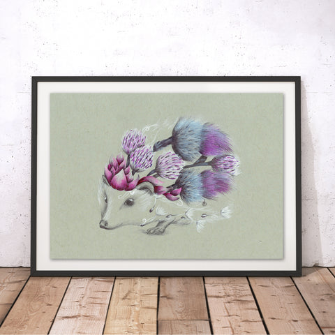 Rustic Hedgehog Original Print by Kat Baxter