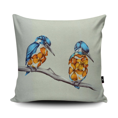 Rustic Kingfishers Cushion by Kat Baxter