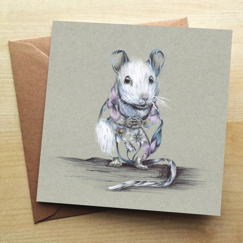 Rustic Mouse Greetings Card by Kat Baxter