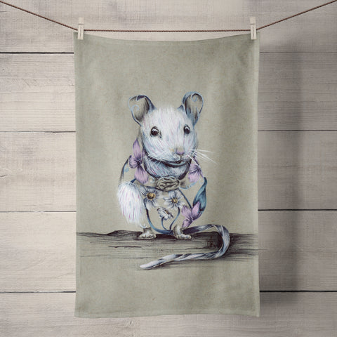Rustic Mouse Tea Towel by Kat Baxter