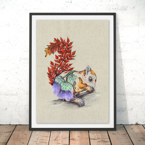 Rustic Squirrel Original Print by Kat Baxter
