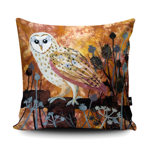 Autumn Barn Owl Cushion by Kate Findlay