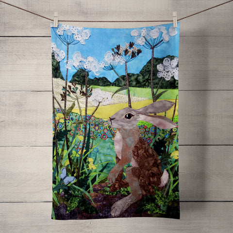Buttercup Hare Tea Towel by Kate Findlay