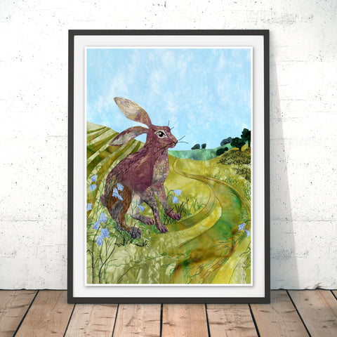Downland Hare Original Print by Kate Findlay