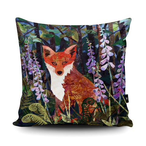 Fox in Foxgloves Cushion by Kate Findlay