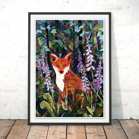 Fox in Foxgloves Original Print by Kate Findlay