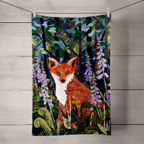 Fox in Foxgloves Tea Towel by Kate Findlay