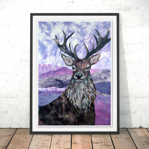 Heather Stag Original Print by Kate Findlay