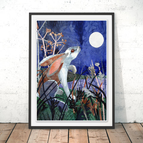 Moonlight Hare Original Print by Kate Findlay