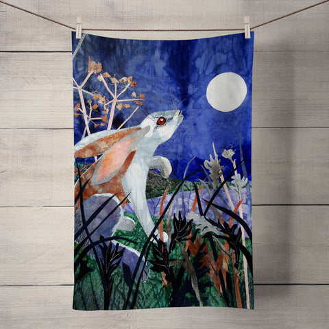 Moonlight Hare Tea Towel by Kate Findlay