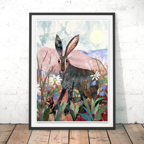 Noonday Hare Original Print by Kate Findlay