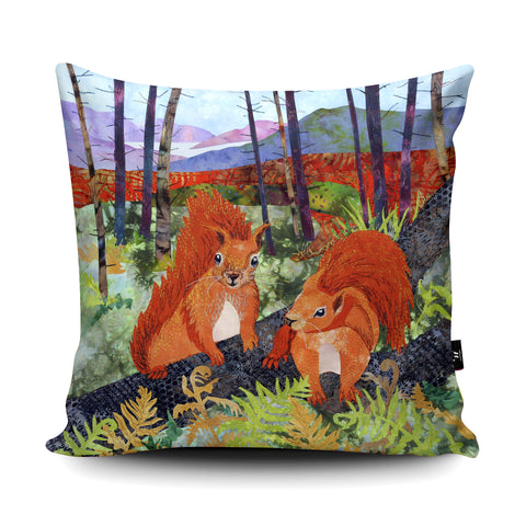 Scots Squirrels Cushion by Kate Findlay