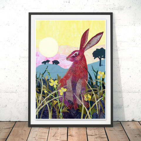 Sunrise Hare Original Print by Kate Findlay