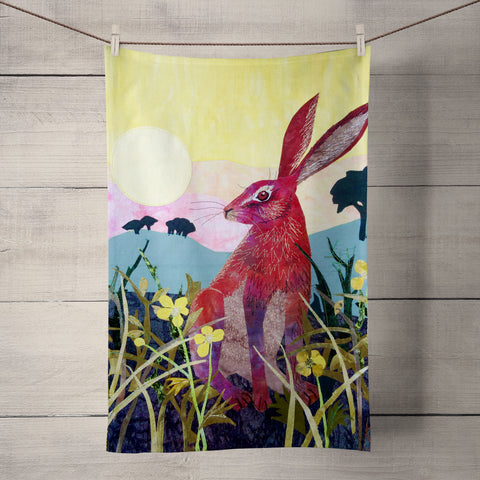 Sunrise Hare Tea Towel by Kate Findlay