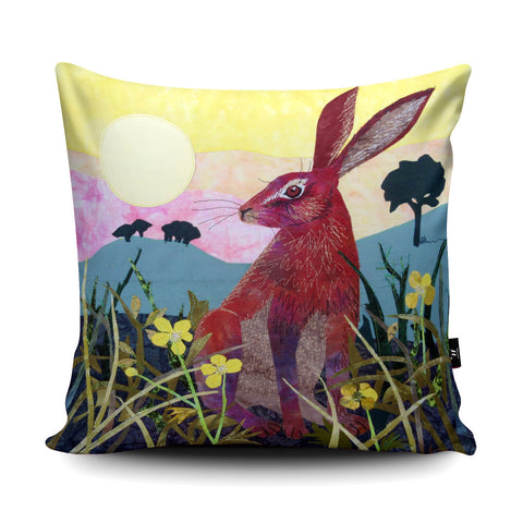 Sunrise Hare Cushion by Kate Findlay