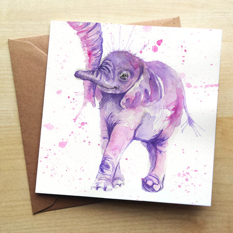 Splatter Baby Elephant Greetings Card by Katherine Williams