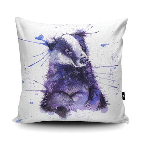 Splatter Badger Cushion by Katherine Williams