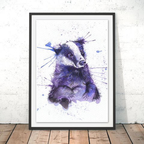 Splatter Badger Original Print by Katherine Williams
