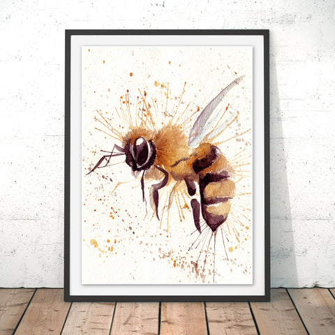 Splatter Bee Original Print by Katherine Williams