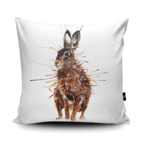 Splatter Brown Hare Cushion by Katherine Williams
