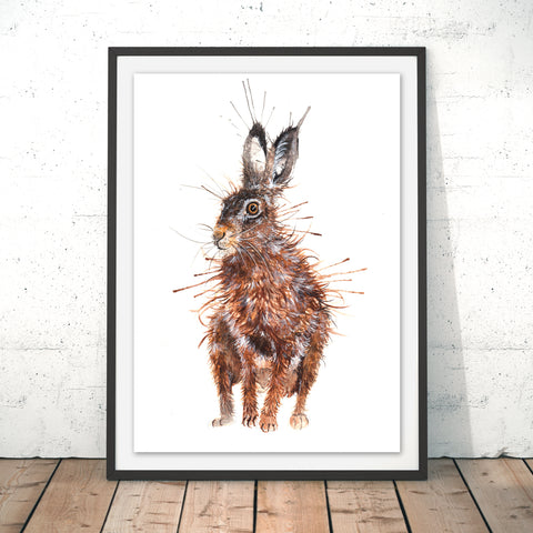 Splatter Brown Hare Original Print by Katherine Williams