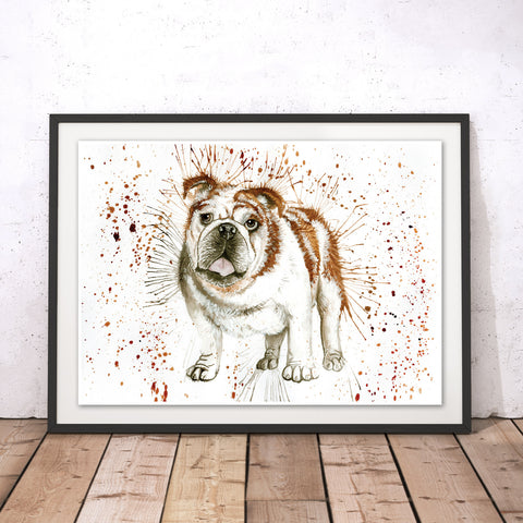 Splatter Bulldog Original Print by Katherine Williams