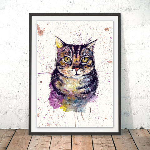 Splatter Cat Original Print by Katherine Williams