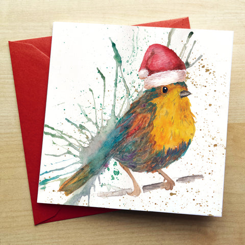 Splatter Christmas Bird Greetings Card by Katherine Williams