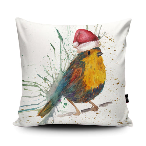 Splatter Christmas Bird Cushion by Katherine Williams
