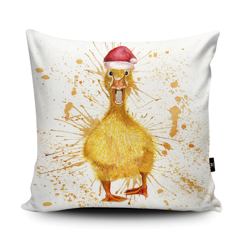 Splatter Christmas Duck Cushion by Katherine Williams